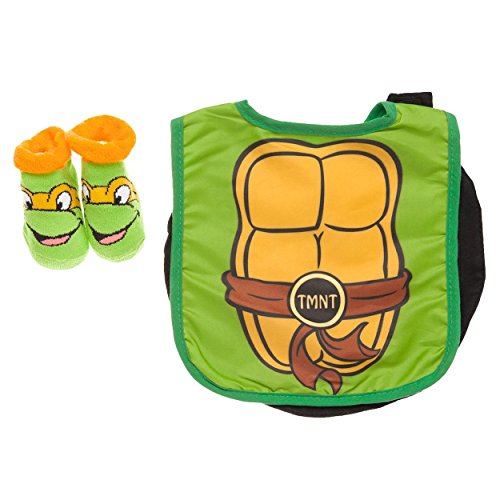 Baby-Boys Infant TMNT Caped Bib and Bootie Set, Green, One Size