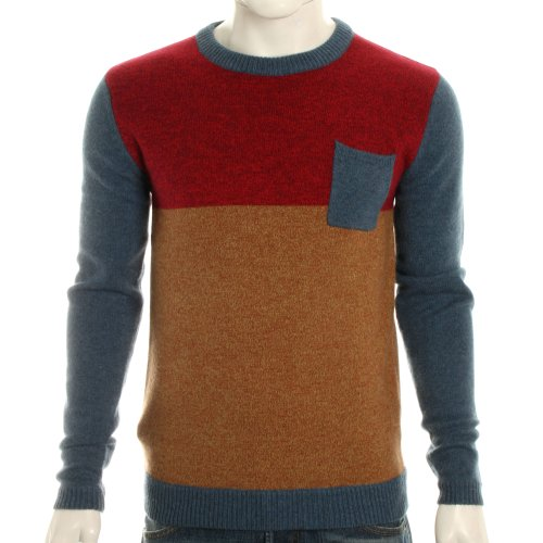 Villain Mens Jordao Colour Block Pullover Jumper - Blue Combo - S