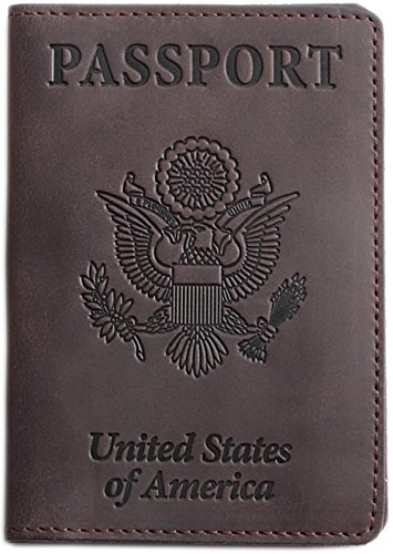 Shvigel Passport Holder - Cover and Travel Wallet - 100% Genuine Leather (Brown)