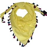 Women's Triangle Scarf - Beautiful Cotton Triangular Scarves with Colourful Tassels