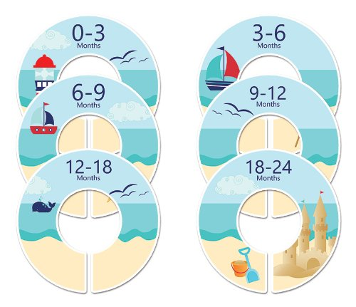 #116 Beach Boy Baby Closet Dividers Clothes Organizers Set Of 6