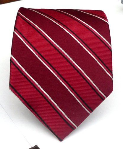 100% Silk Woven Burgundy Striped Tie
