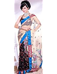 Exotic India Beige Sari With Embroidered Flowers And Patch Work - Beige