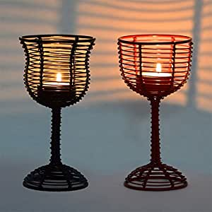 Buy Exclusivelane Wine Glass Shaped Table Tea Light Holder