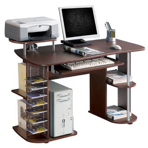 Ergonomic Deluxe Home Office Computer Desk - Chocolate Brown