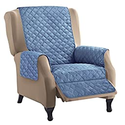 Reversible Quilted Furniture Cover, Dark Blue/Light, Recliner