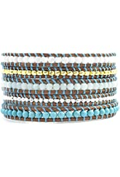 Chan Luu Turquoise Mix Thread Wrap Bracelet on Natural Brown Leather
