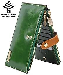 Borgasets RFID Blocking Women\'s Genuine Leather Zipper Wallet Card Case Purse (Green)