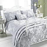 REGAL SUPER KING SIZE JACQUARD DAMASK GREY SILVER COTTON DUVET SET QUILT COVER #OMLAB
