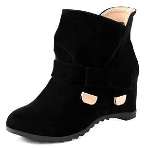 IDIFU Women's Comfy Bow Lug Sole Increased Within Martin Ankle Boots Black 10 B(M) US