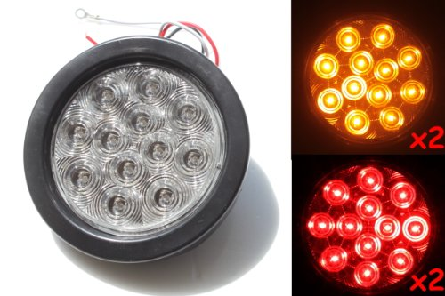 "New 2 Red + 2 Amber Clear Lens 4"" Round Led Stop Brake Turn Tail Light Includes Light, Grommet, Plug For Truck Trailer Truck"
