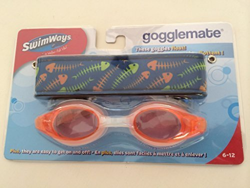 SwimWays Gogglemate Fishbone Design Orange/Clear Colored Floating Goggles Ages 6-12 - 1