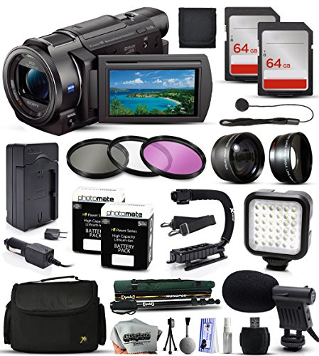Sony FDR-AX33 4K Ultra HD Handycam Camcorder Video Camera + 128GB Memory + Travel Charger + 3 Filters + 2 Batteries + Opteka X-Grip + LED Light + Microphone + Monopod + Large Case + Dust Cleaning Kit