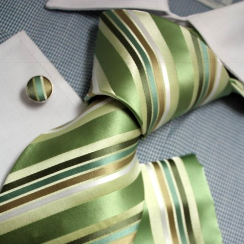 Green Stripes Woven Silk Tie Hanky Cufflinks Gift Box Set forest green mens presents Pointe Tie PH1094