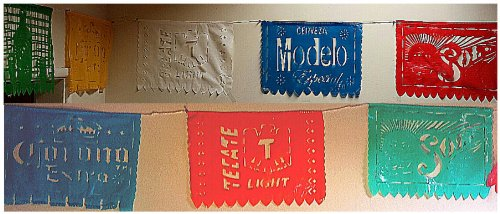 Mexican Beers Cutout Banner Papel Picado Multicolor with 9 Different Colorful Designs 17 Feet Long!
