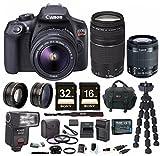Canon EOS Rebel T6 18.0 MP DSLR Camera w/ EF-S 18-55mm & EF 75-300mm Lenses & Zoom TTL Flash Gun Bundle