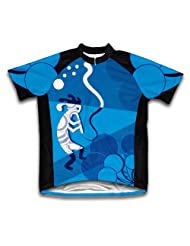 Blue Swirl Musician Short Sleeve Cycling Jersey for Women