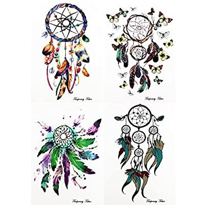 GIFT!!Tastto 4 Sheets Bright Colorful Dreamcatcher & Feathers Temporary Tattoos Body Paints Stickers Set for Girls and Women with GIFT