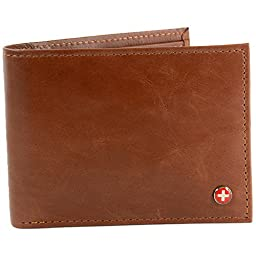 Alpine Swiss Mens Leather Wallet 2-In-1 Bifold Flip up Removable Card Case Brown