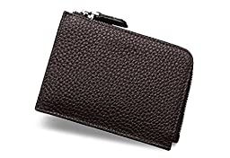 Unisex Togo Leather Card Case Wallets Super Soft Money Organizers Small Purse with Zipper Cash Holders