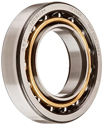 SKF Light Series Angular Contact Ball Bearing, Universal Mounting, ABEC 1 Precision, 40° Contact Angle, Open, Brass Cage, Normal Clearance