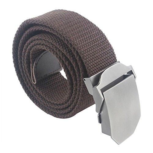 Regolabile Canvas Cintura Belt Waistband con Fibbia in metallo Slider - Aohro All'aperto Sport Cinghia Uomo Donna Unisex in Tessuto Tela - stile 2 - marrone