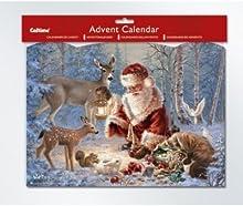 Papá Noel y ciervos calendario de adviento con purpurina