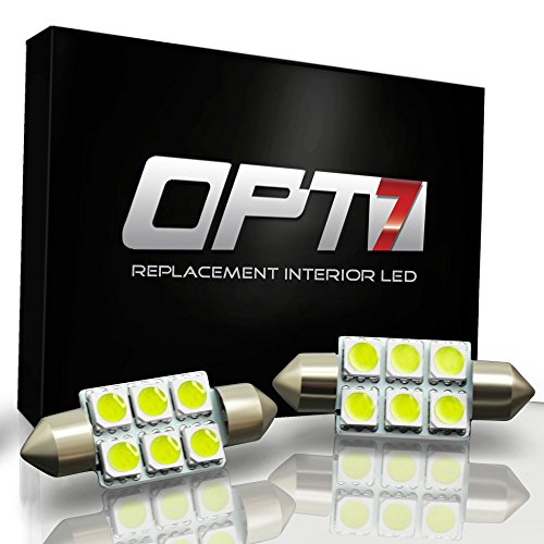 2 Pcs - Opt7® 6-Smd Festoon Automotive Light Bulb - Dome Map License Plate Interior Led - (Red, 39Mm)