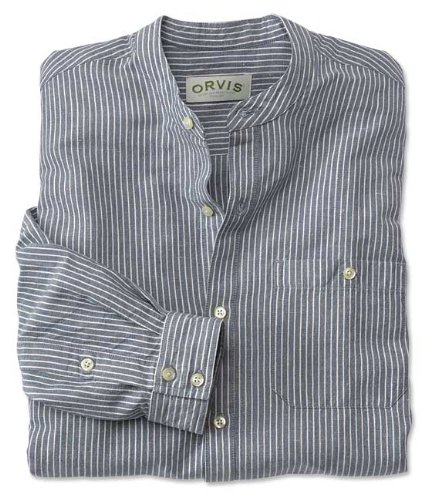 Orvis Men 39 S Cool Linen Cotton Banded Collar Shirt Banded