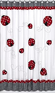 Polka Dot Ladybug Kids Bathroom Fabric Bath Shower Curtain by Sweet Jojo Designs