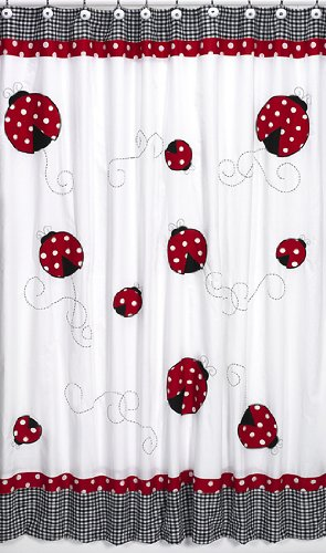 Polka Dot Ladybug Kids Bathroom Fabric Bath Shower Curtain by Sweet Jojo Designs