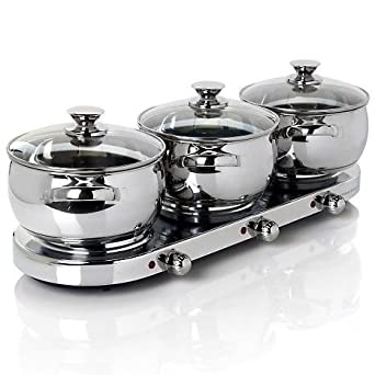 Command Performance 7-piece Triple Burner Set w/ Stainless Steel Accents 145586 Silver