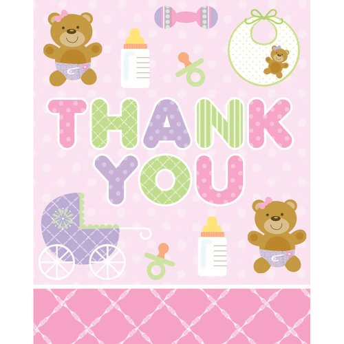 Creative Converting Baby Shower Teddy Baby Pink 8 Count Thank You Cards - 1