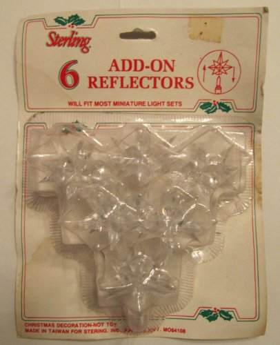 Sterling Add-On Twinkle Star Reflectors for Miniature Lights for Christmas Lights – 6 pack. This is a vintage product no longer made for many years. Only one set left.