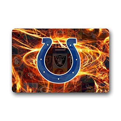 LaHuo NFL Professional Team Indianapolis Colts Logo Custom Design Doormats Outdoor Indoor Stairs Bath Front Door Small Rug Machine-Washable Neoprene Rubber Doormat