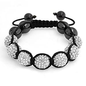 Bling Jewelry Unisex Crystal Bracelet Shamballa Inspired 12mm Hematite