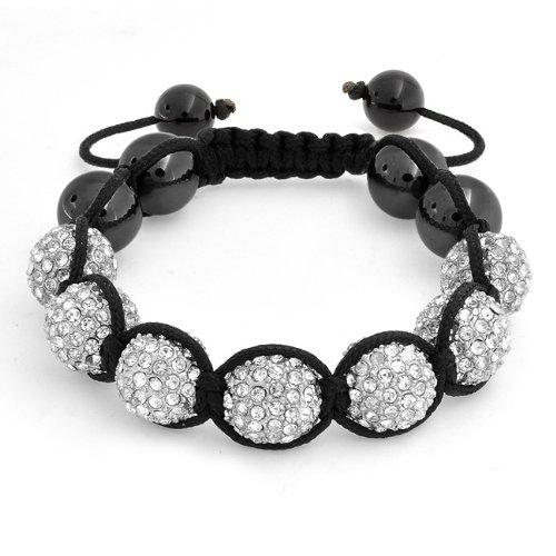 Bling Jewelry Unisex Hematite Swarovski Crystal Balls Shamballa Bracelet 12mm