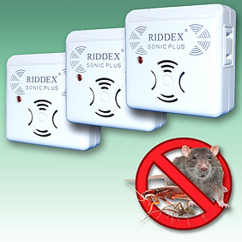 RIDDEX SONIC PLUS PEST REPELLERS WITH SIDE OUTLETS (SET OF 3)