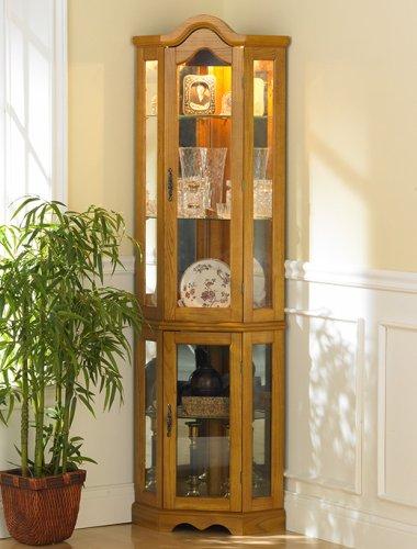 Lighted Curio Cabinet - Golden Oak