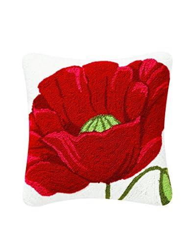 Madeline Hooked Poppy Pillow, Red Multi