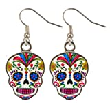 Day Of The Dead Sugar Skull Earrings - Assorted Colors (White Skulls)