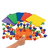 Stack it Peg Game With Board Occupational Therapy Autism Fine Motor Skills by Fun Express- Single Foam Board and 30 Pegs (Color: Multi)