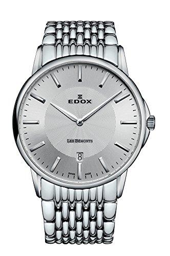 Mujer-reloj EDOX LES BEMONTS - Ultra SLIMM Swiss movement analógico de cuarzo de acero inoxidable 57001 3 M AIM