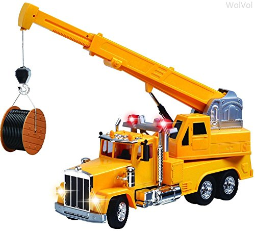 WolVol Giant Big Heavy Duty Construction Crane Truck Toy with Lights, Wired Remote Control (Crane Remote compare prices)