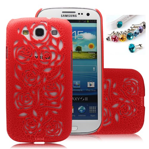 #1  Cocoz®new Releases Romantic Red Roses Carved Palace Fashion Design Samsung Galaxy S3 I9300 Hard Case Cover Skin Retail Packing( Red Pc. Palace Carving Craft) -H016