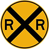 Street & Traffic Sign Wall Decals - Rail Road Crossing Symbol Sign - 12 inch Removable Graphic