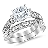 White Gold Classic Channel Set Wedding Set Bridal Band & Diamond Engagement Ring with a 1.2 Carat Cushion Cut J Color VS2 Clarity Center Stone