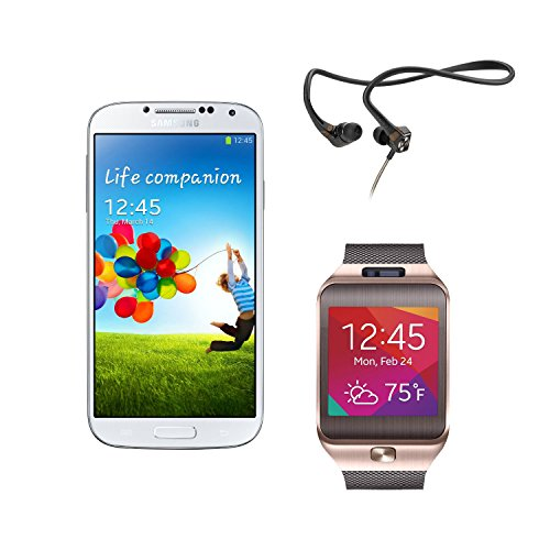 Samsung Galaxy S4 I9505 4G Lte 16Gb Unlocked International Version No Warranty (White) With Sennheiser Pcx95 In-Ear Neckband Headphones And Samsung Gear 2 With Camera (Golden Brown)