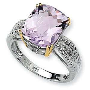 IceCarats Designer Jewelry Size 7 Sterling Silver 14K Light Amethyst And Diamond Ring