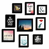 Art Street Set of 9 Quote Photo frames - Hapiness and Smile theme wall quotes